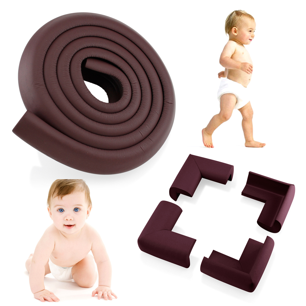 4Pcs Child Baby Kids Safety Corner Edge Protectors + Table Soft Cover Protector Cushion Guard - Wood