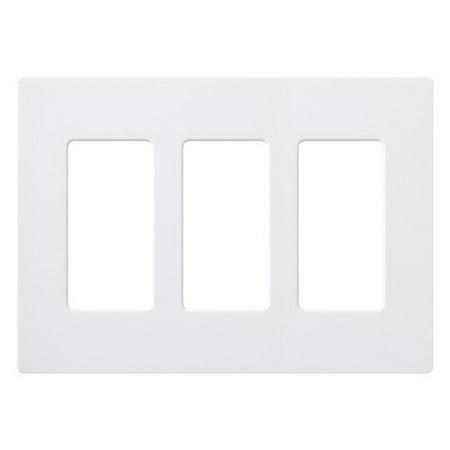 lutron claro screwless wall plate 3 gang white gloss. Black Bedroom Furniture Sets. Home Design Ideas