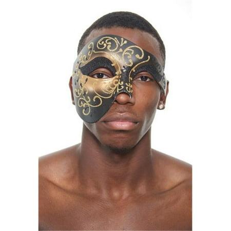Kayso PP014 Phantom of the Opera Style Black Plastic Costume Mask with Gold Design](Black Mask Costume)