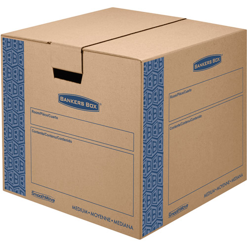Bankers Box SmoothMove Fast Assembly Tape-Free Moving and Storage Boxes, Medium, 8 Pack