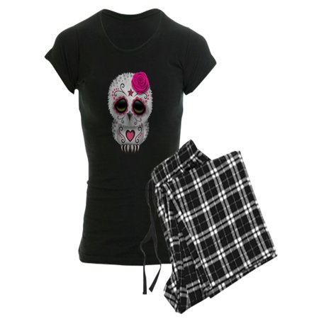 CafePress - Pink Day Of The Dead Sugar Skull Owl Pajamas - Women's Dark Pajamas