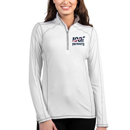 6120b231 New England Patriots Antigua Women's NFL 100 Tempo Half-Zip Pullover Jacket  - White/Silver