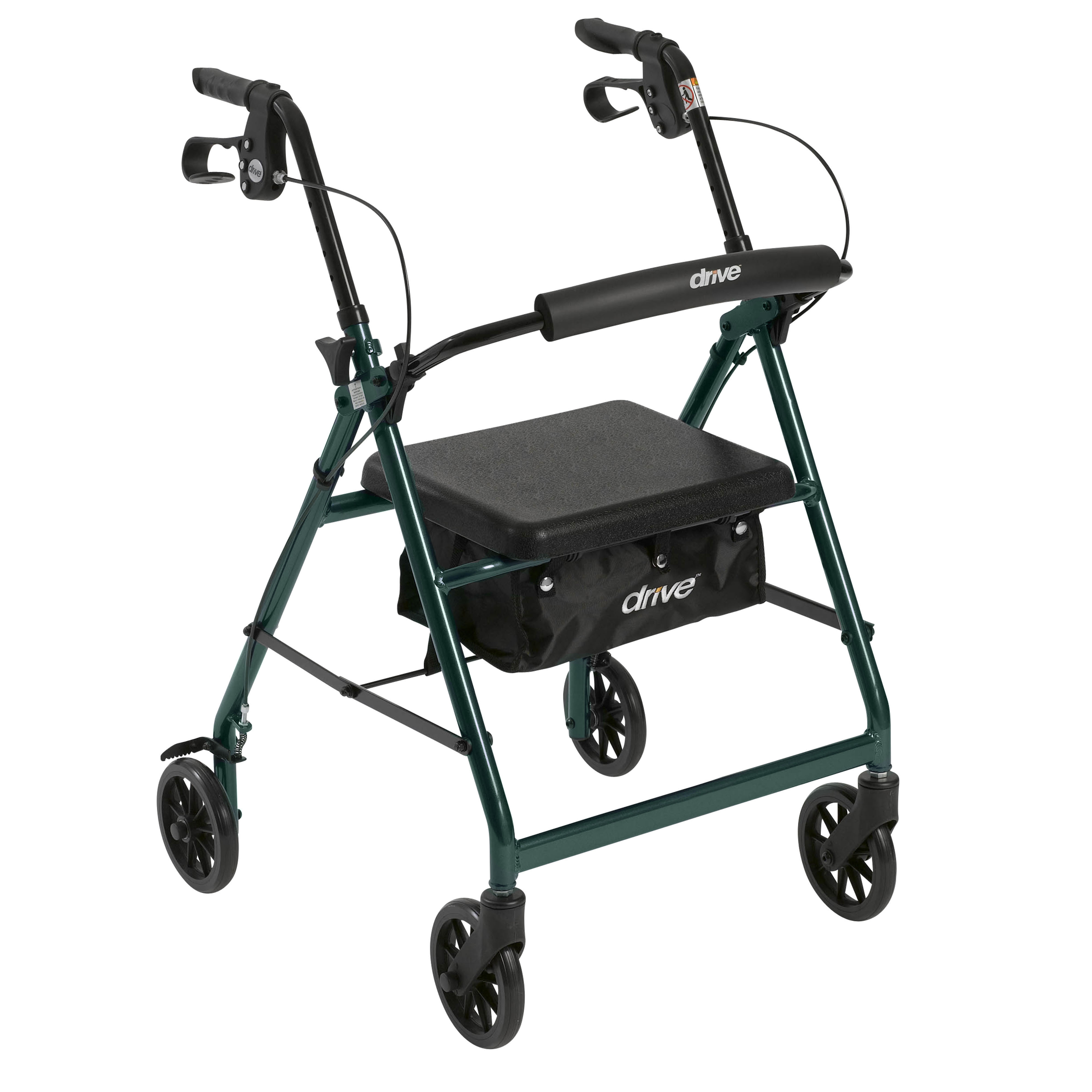 """Drive Medical Rollator Rolling Walker with 6"""" Wheels, Fold Up Removable Back Support and Padded Seat, Green"""