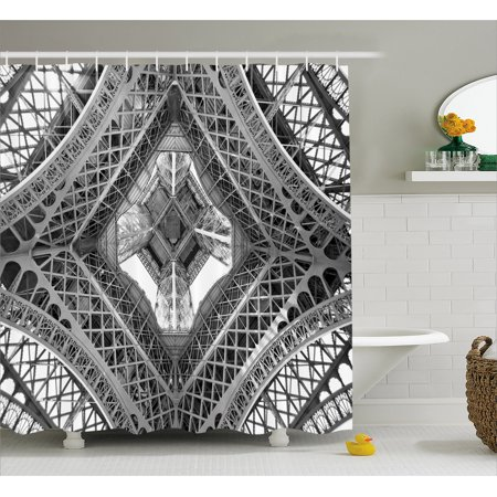 Paris France Tower - Black and White Shower Curtain, Eiffel Tower View From Below Paris City French Monument Image, Fabric Bathroom Set with Hooks, Grey Black and White, by Ambesonne