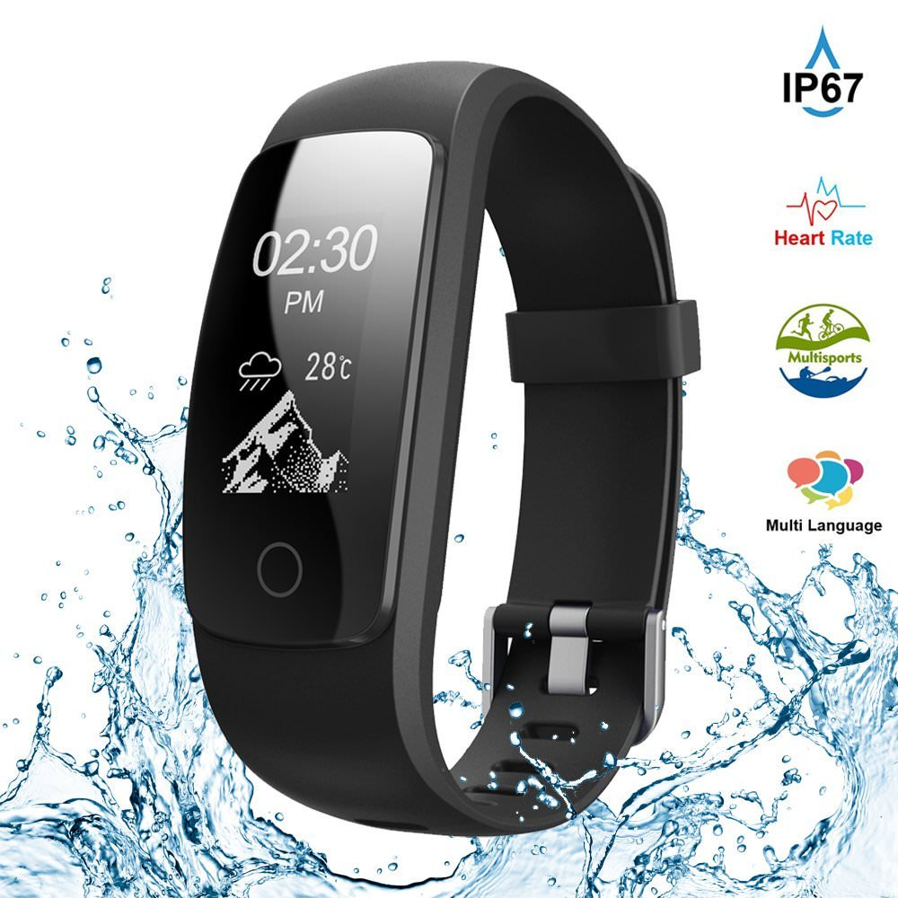 Waterproof Fitness Tracker, Touch Screen Pedometer Activity Tracker with Heart Rate Monitor Multiple Sports Mode Wristband Calorie Step Counter for Android & iOS iPhone