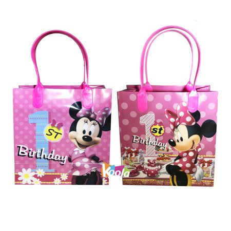 Disney Minnie Mouse 1st Birthday Party Loot Bags Goody Fun Gift Bag For 2pcs