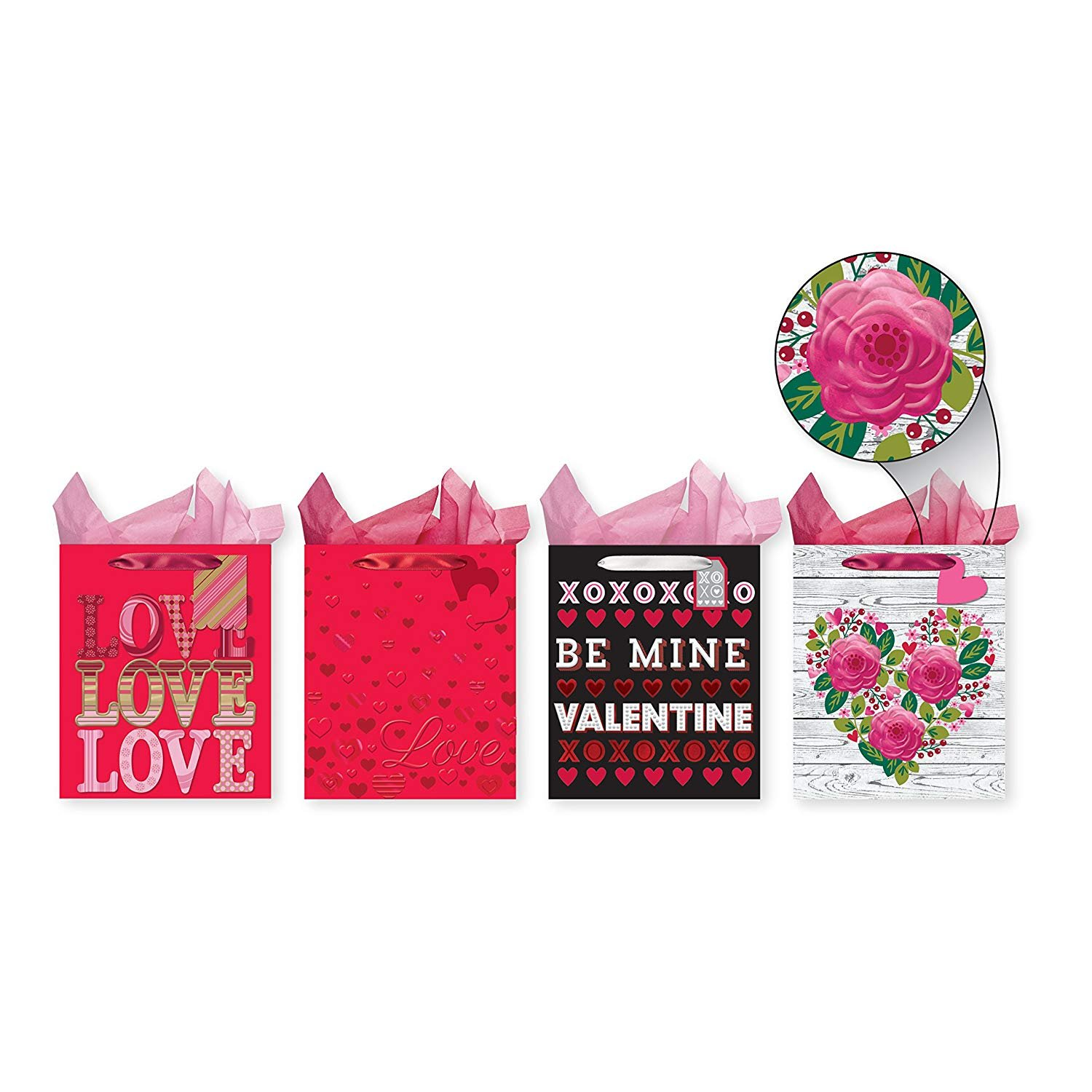 Pack of 4 Large Valentine's Heavy Emboss Gift Bags - Foil Embellishment with Heavy Embossing on Each Bag