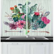 Cactus Curtains 2 Panels Set, Spring Garden with Boho Style Bouquet of Thorny Plants Blossoms Arrows Feathers, Window Drapes for Living Room Bedroom, 55W X 39L Inches, Multicolor, by Ambesonne