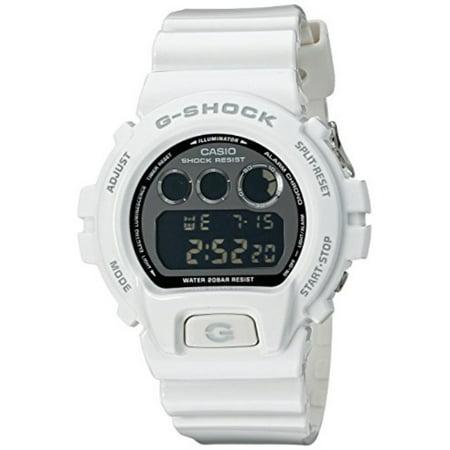 casio mens g-shock mirror metallic multifunction resin watch - white resin strap - black dial - dw6900nb-7