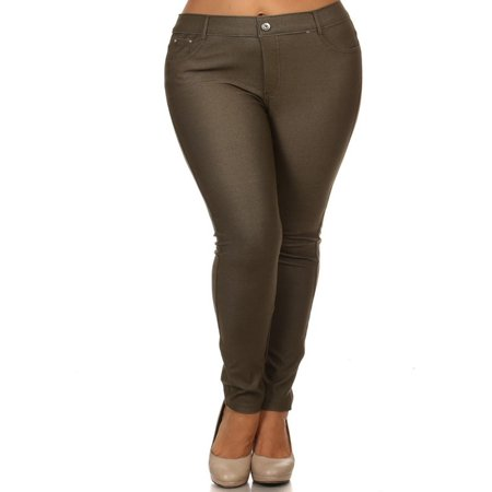 MOA COLLECTION Women's Plus Size Solid Casual Comfort Lightweight Stretchy Jean Pocket Legging Pants ()