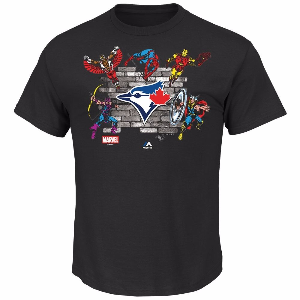 "Toronto Blue Jays MLB Majestic Men's Black Marvel Comics Avengers ""Fans Assemble"" T-Shirt"