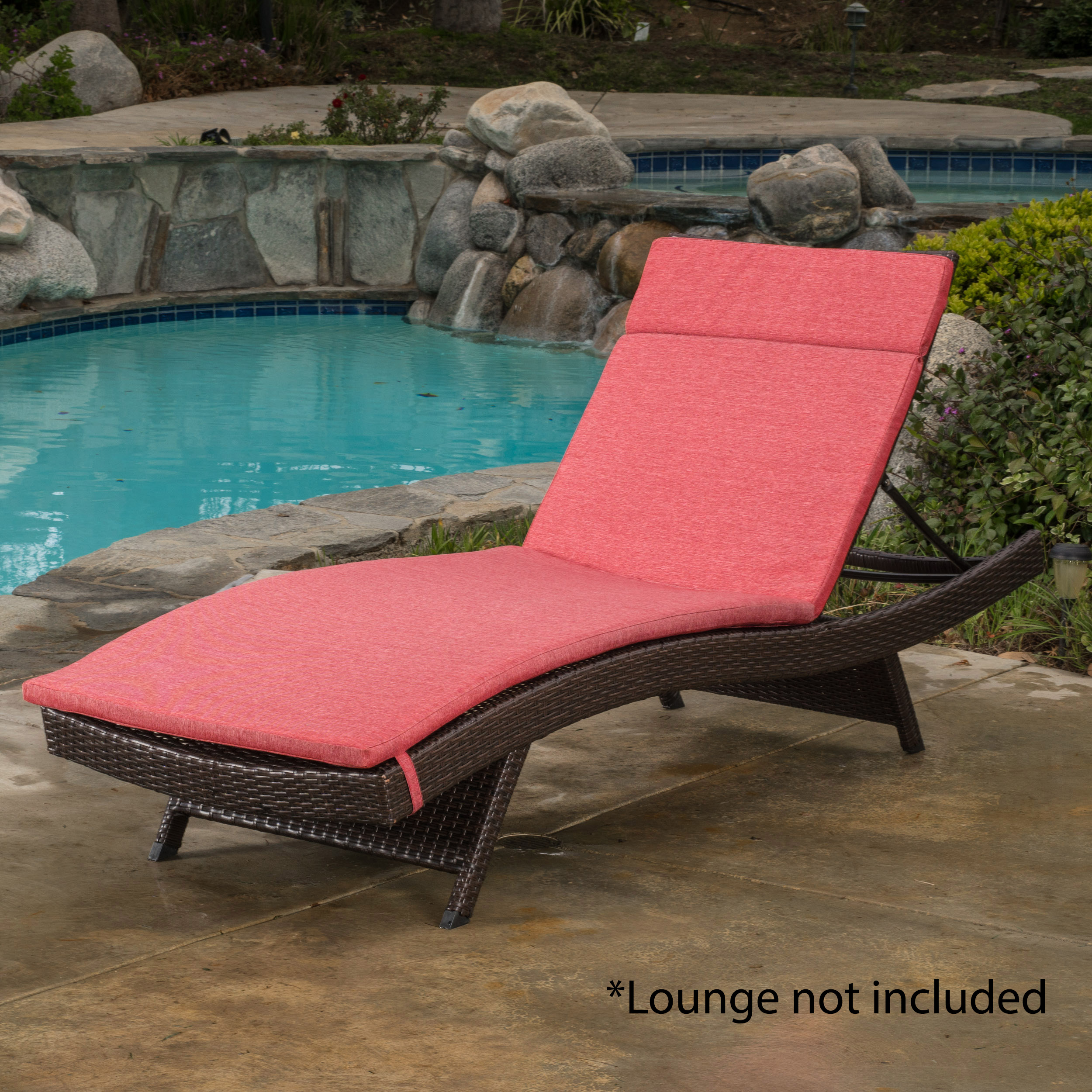 Anthony Outdoor Chaise Lounge Cushion, Red