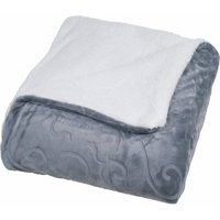 Somerset Home Floral Etched Fleece Blanket with Sherpa, Multiple Colors and Sizes