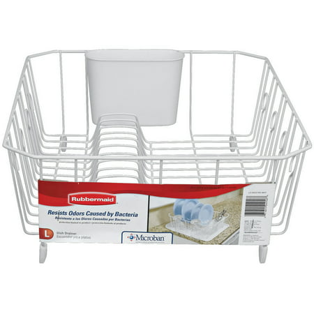 Rubbermaid Antimicrobial Dish Drainer, Large, - Kitchen Sink Dish Drainer
