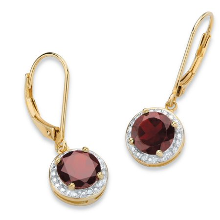 3.20 TCW Genuine Red Garnet and Diamond Accent Pave-Style Halo Drop Earrings in 14k Gold over Sterling Silver