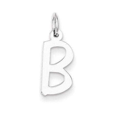 Sterling Silver Medium Slanted Block Initial B Charm
