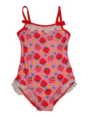 Starfish Little Girls Pink Strawberry Print Ruffle One Piece Swimsuit 2T