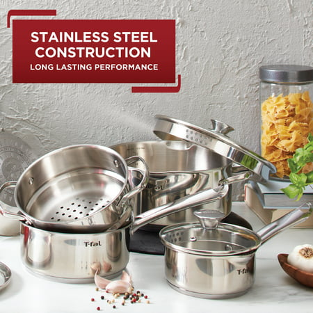 T-fal Cook & Strain Stainless Steel Cookware Set, 14 piece Set