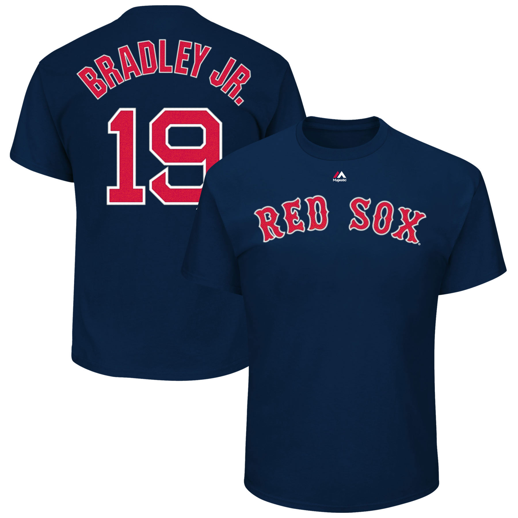 Jackie Bradley Jr. 19 Boston Red Sox Majestic Official Name and Number T-Shirt - Navy