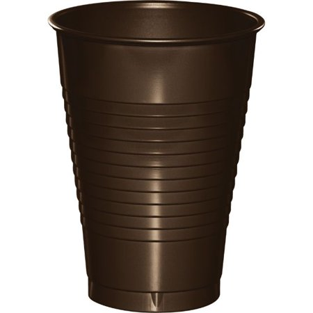 Touch of Color Plastic Cups, 12 Oz, Chocolate Brown, 20 - Brown Plastic Cups
