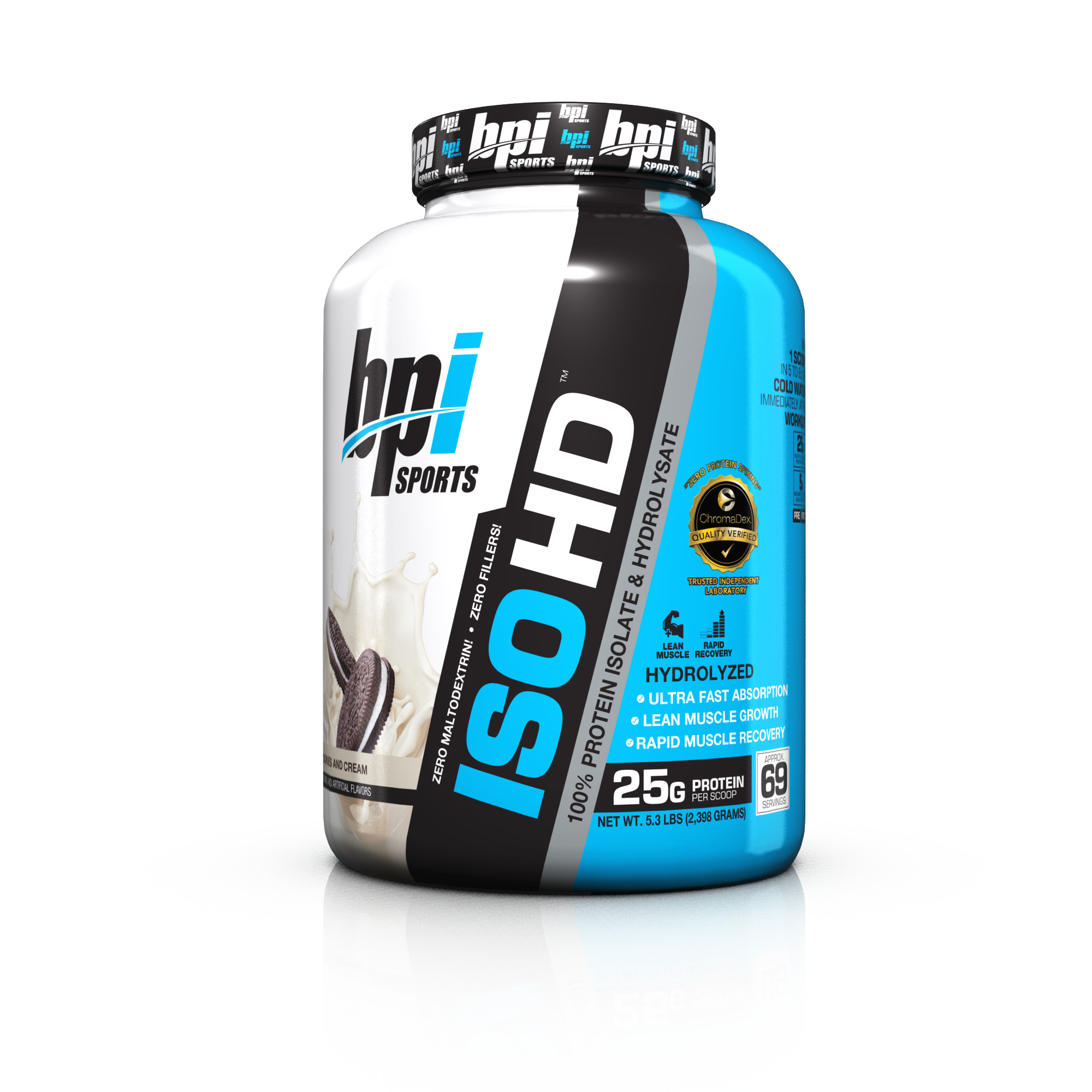 BPI Sports ISO HD Protein Cookies And Cream, 69 Servings