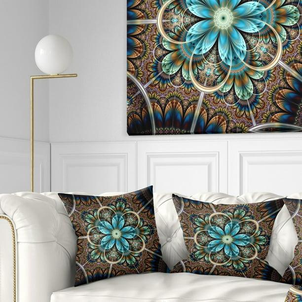Design Art Designart Large Brown Blue Fractal Flower Floral Throw Pillow Walmart Com Walmart Com