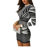 Women Bodycon Long Sleeve Dress Party Cocktail Evening Prom Club Mini Dress