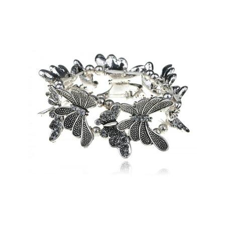 Silver Tone Light Sapphire Crystal Rhinestone Butterfly Bracelet Bangle - Cuff Sapphire Bracelet