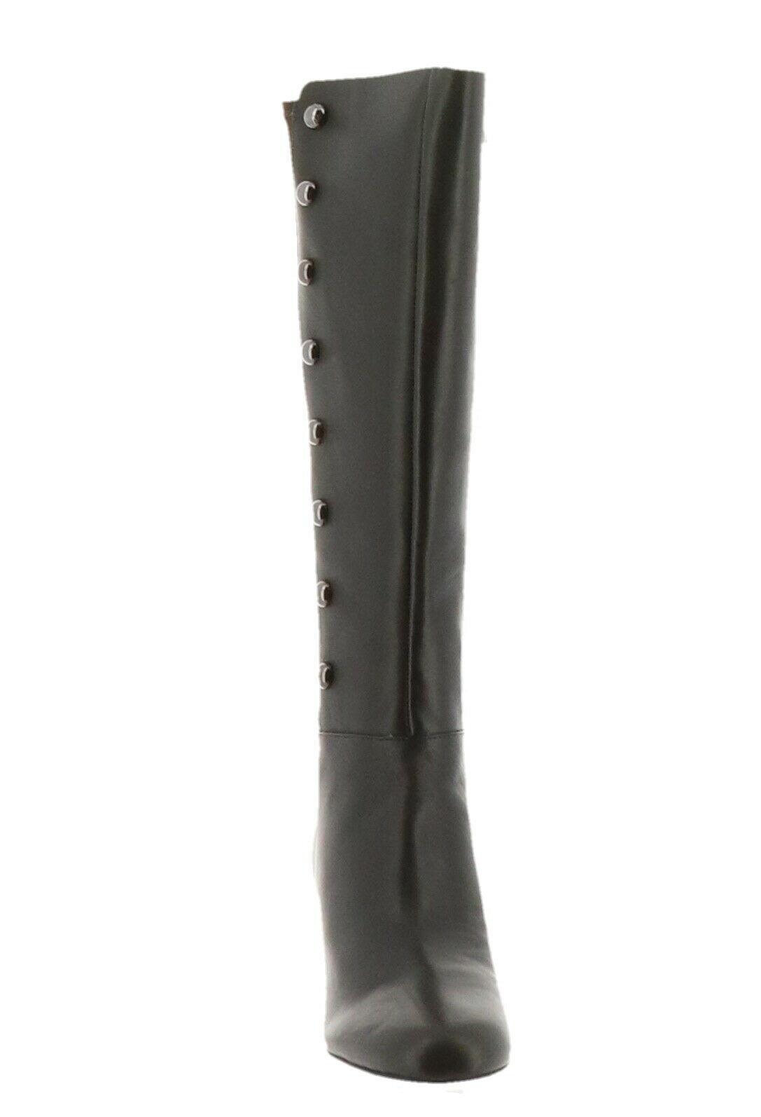 Isaac Mizrahi Leather Studded Tall Boots Block Heel Olive 8.5M NEW A297228