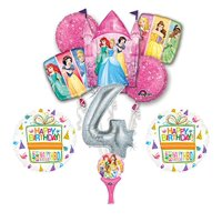 New! 9pc Disney Princess 4th BIRTHDAY PARTY Balloons Decorations Supplies