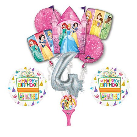 9pc Disney Princess 4th BIRTHDAY PARTY Balloons Decorations Supplies