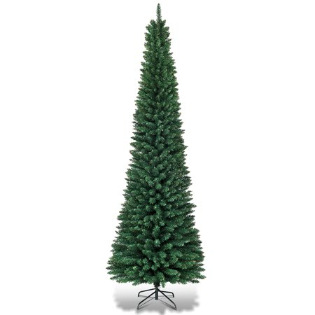 Topbuy 7' Pencil Christmas Tree PVC Artificial Slim Tree w/ Metal Stand Home Holiday Decor Green ()