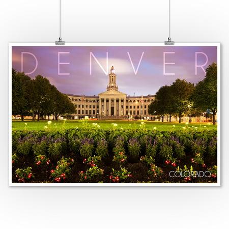 City Hall Denver Halloween (Denver, Colorado - City Hall - Lantern Press Photography (9x12 Art Print, Wall Decor Travel)
