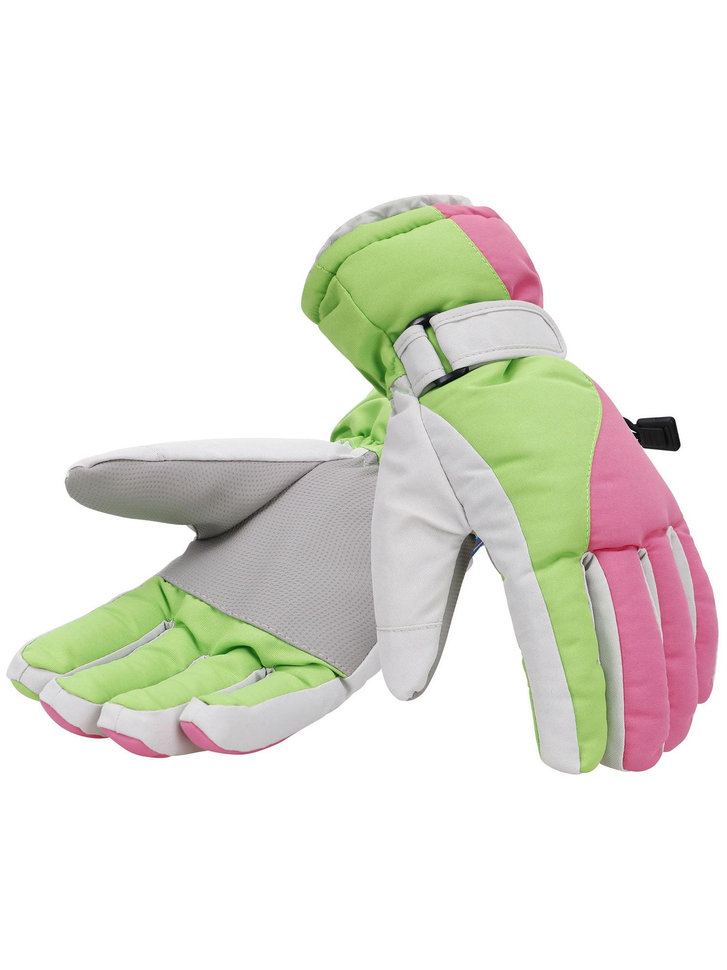 Women's Winter Waterproof Outdoor Snowboard Ski Gloves,L, Pink Green