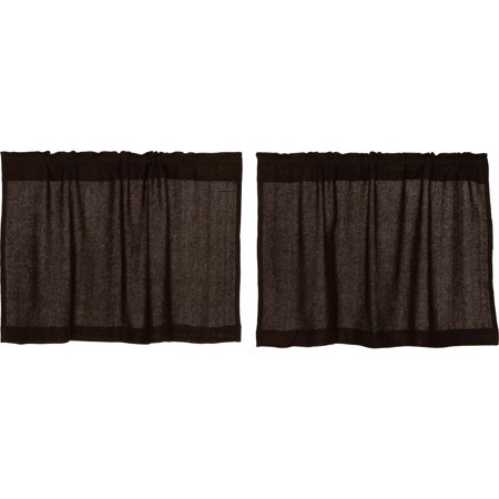 Chocolate Brown Rustic & Lodge Kitchen Curtains Burlap Chocolate Rod Pocket Cotton Cotton Burlap Solid Color 24x36 Tier Pair