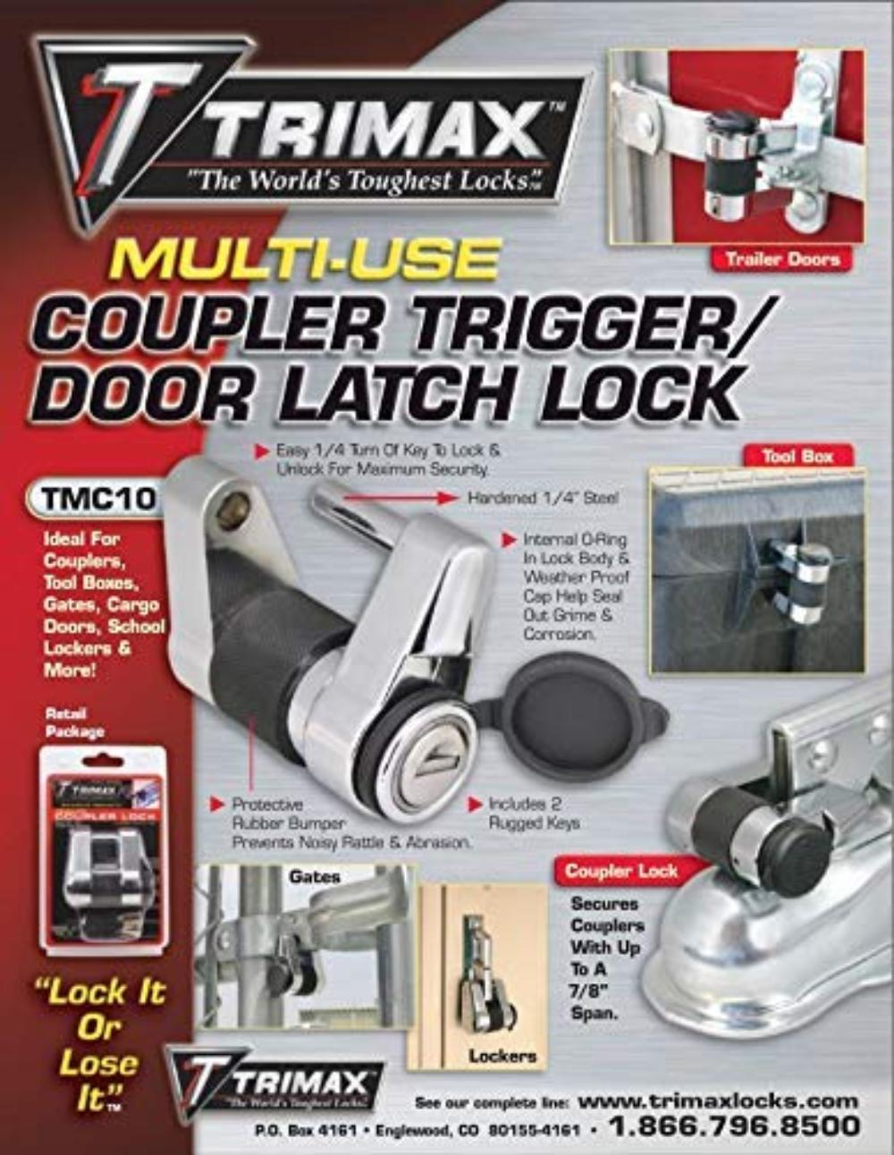 Trimax TMC10 Coupler//Door Latch Lock 4Pack fits couplers to 3//4 Span