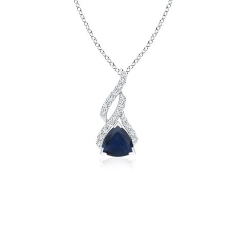 September Birthstone Necklace - Trillion Sapphire Solitaire Pendant with Diamond Swirl in 14K White Gold (5mm Blue Sapphire) - -