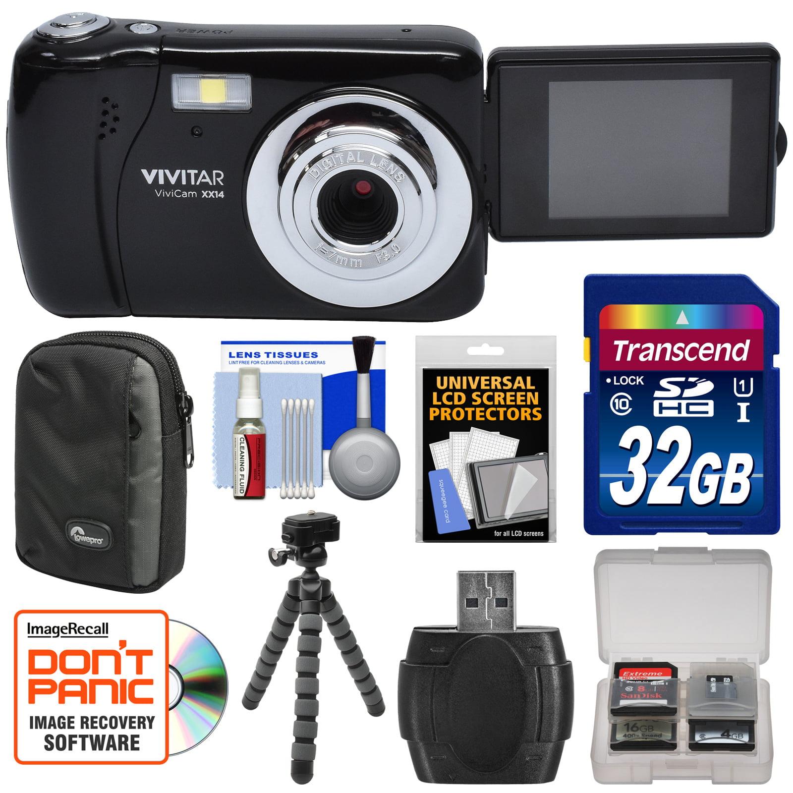 Vivitar ViviCam VXX14 Selfie Digital Camera (Black) with 32GB Card + Case + Flex Tripod + Reader + Kit by Vivitar