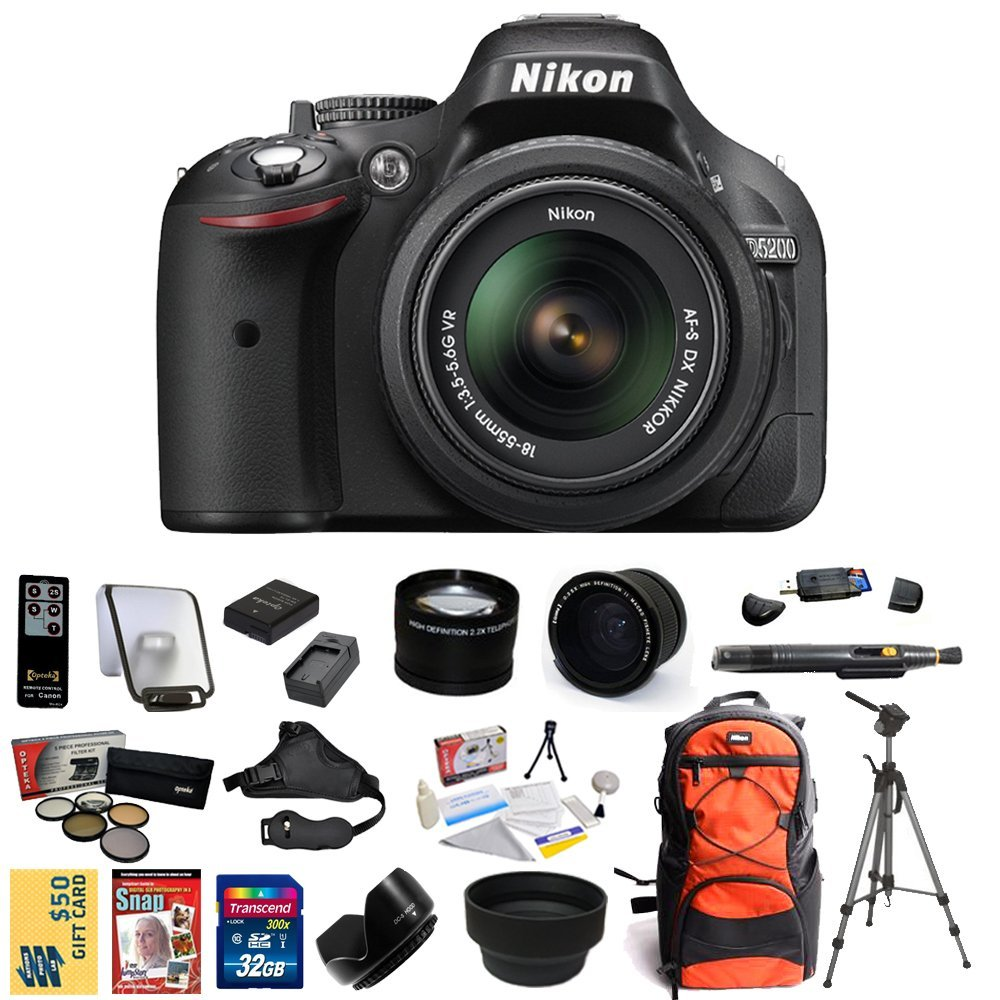 Nikon D5200 Digital SLR Camera & 18-55mm G VR DX AF-S Zoom Lens (Black) With 32GB Memory Card, EN-EL14 Battery, Charger, 0.35x + 2.2x lens, 5 PC Filter, HDMI, Gadget Bag, Tripod, $50 Gift Card & More