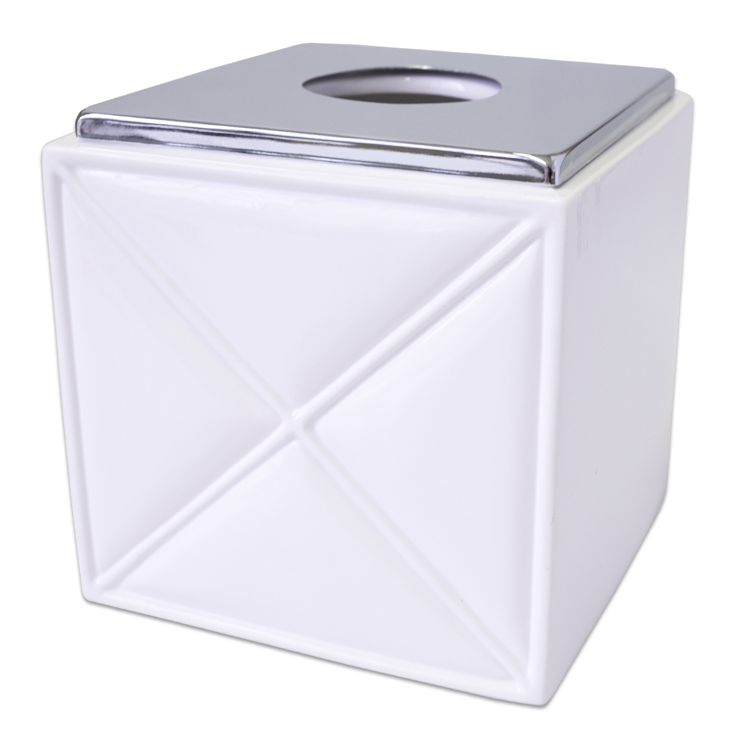 Popular Bath Quilt Accessory Collection White Chrome Ceramic Tissue Box Cover by Popular Bath Products