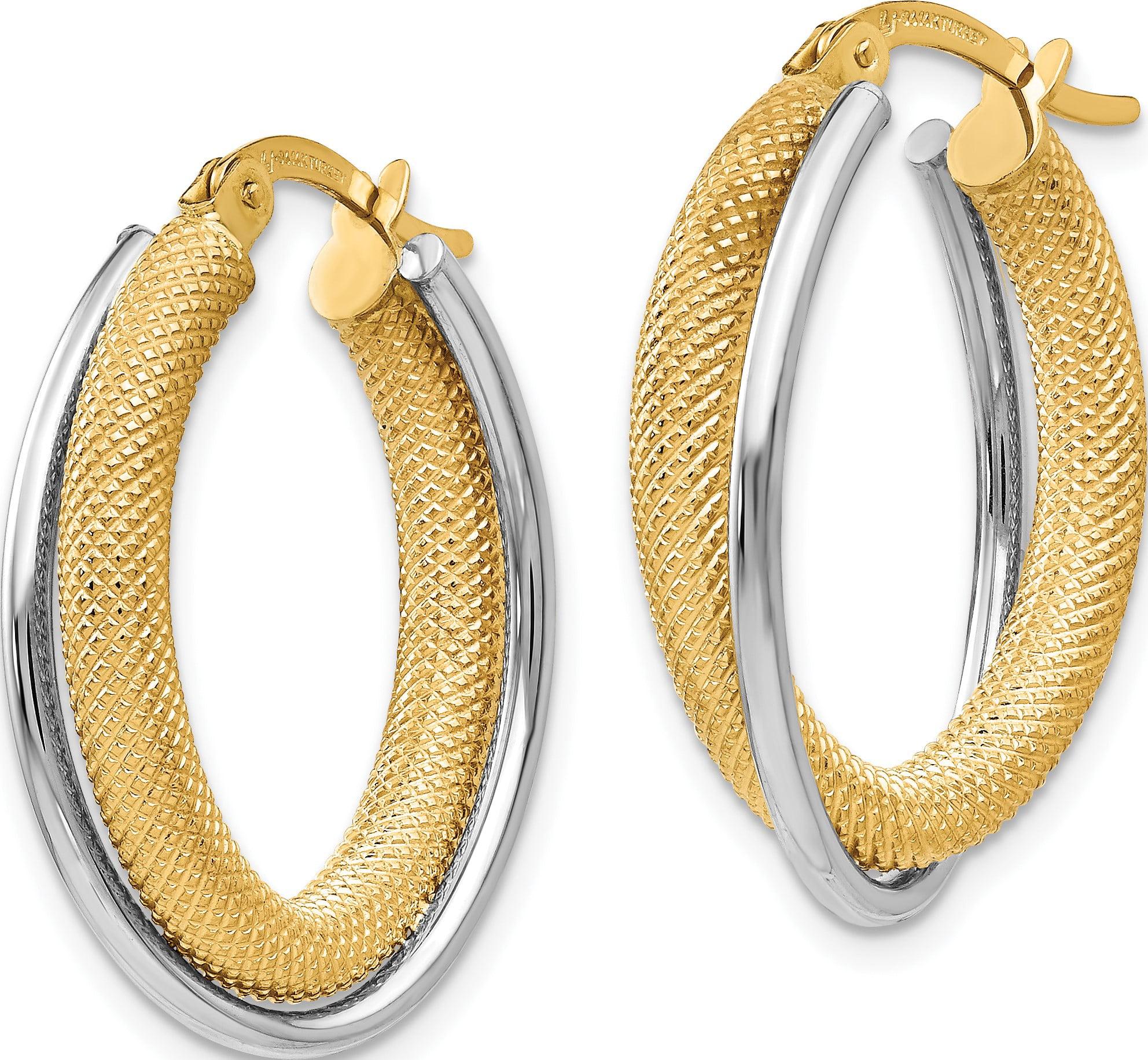 Leslie's 14K Two-tone Polished & Textured Hoop Earrings - image 1 de 3