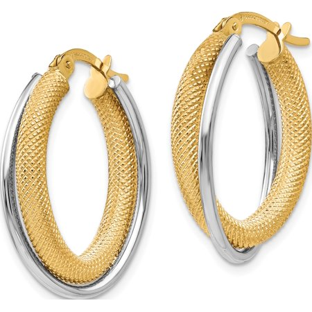Leslie's 14K Two-tone Polished & Textured Hoop Earrings - image 1 de 3