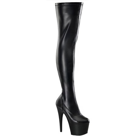 6 1/2 Inch Sexy High Heel Platform Stretch Gothic Thigh Hi Boot Black or (Black Platform Thigh Boots)