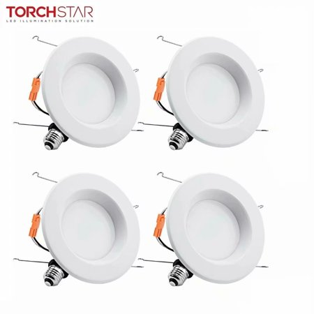 TORCHSTAR 4 Pack 6 Inch Dimmable Recessed LED Downlight with Smooth Trim, LED Retrofit Lighting, 5000K