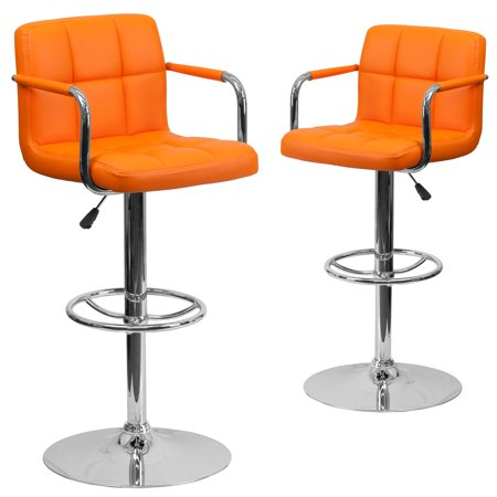 Contemporary Quilted Vinyl Adjustable Height Barstool with Arms and Chrome Base, Set of 2, Multiple Colors Rem Full Arms