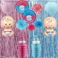 EZGD Metallic Tinsel Foil Fringe Curtains 3.2 ft x 6.6 ft Baby Shower Gender Reveals Party Supply Decoration Party Photo Backdrop (Pink and Blue)