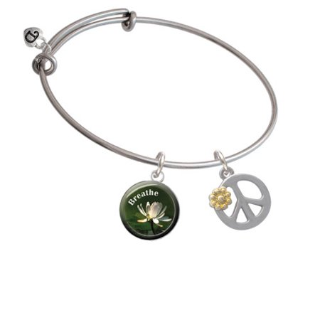- Large Peace Sign with Gold Tone Daisy and Crystal Breath Bangle Bracelet