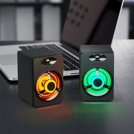 SADA Mini Computer Speaker Colorful LED Light Heavy Bass Subwoofer USB2.0 Home Audio for Desktop PC / Laptop/ Cellphone