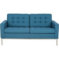 LeisureMod Modern Florence Style Tufted Loveseat in Blue Twill Wool