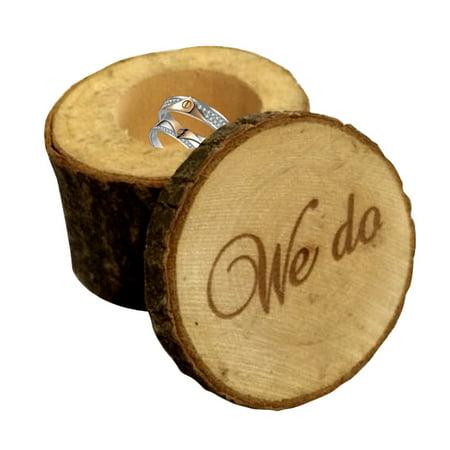 Iuhan Personalized Retro Wedding Ring Box Holder Shabby Chic Rustic Wooden Bearer Box
